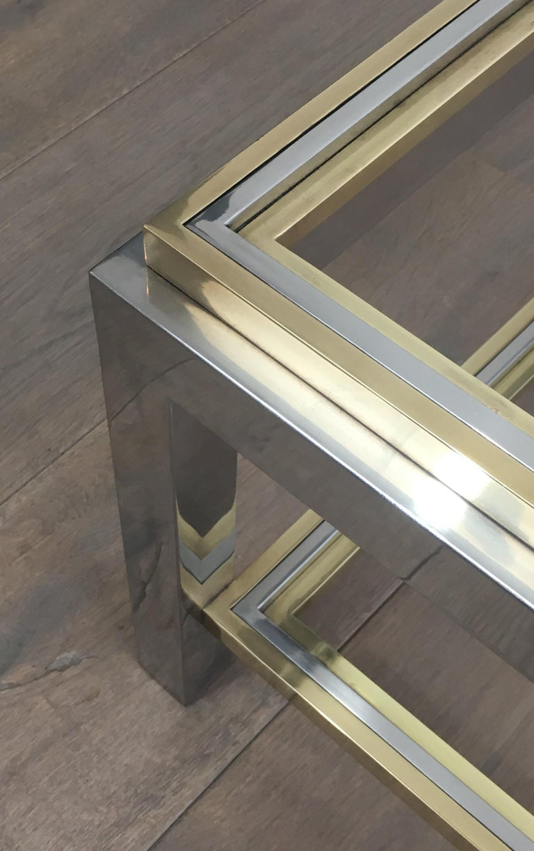 Late 20th Century In the Style of Willy Rizzo, Chrome and Brass Coffee Table, French For Sale