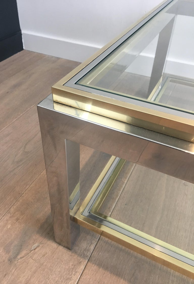 In the Style of Willy Rizzo, Chrome and Brass Coffee Table, French For Sale 1