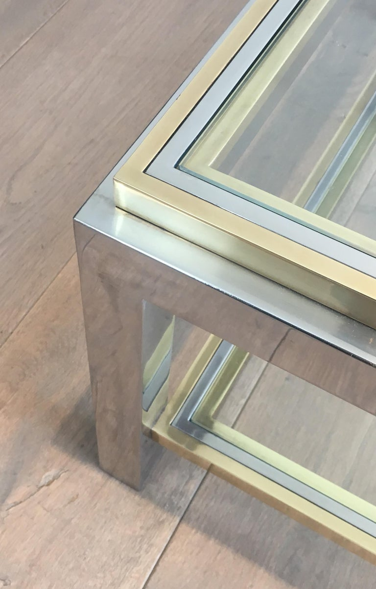 In the Style of Willy Rizzo, Chrome and Brass Coffee Table, French For Sale 2