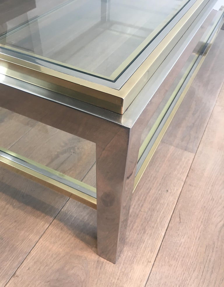 In the Style of Willy Rizzo, Chrome and Brass Coffee Table, French For Sale 4
