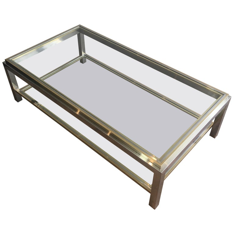 In the Style of Willy Rizzo, Chrome and Brass Coffee Table, French For Sale