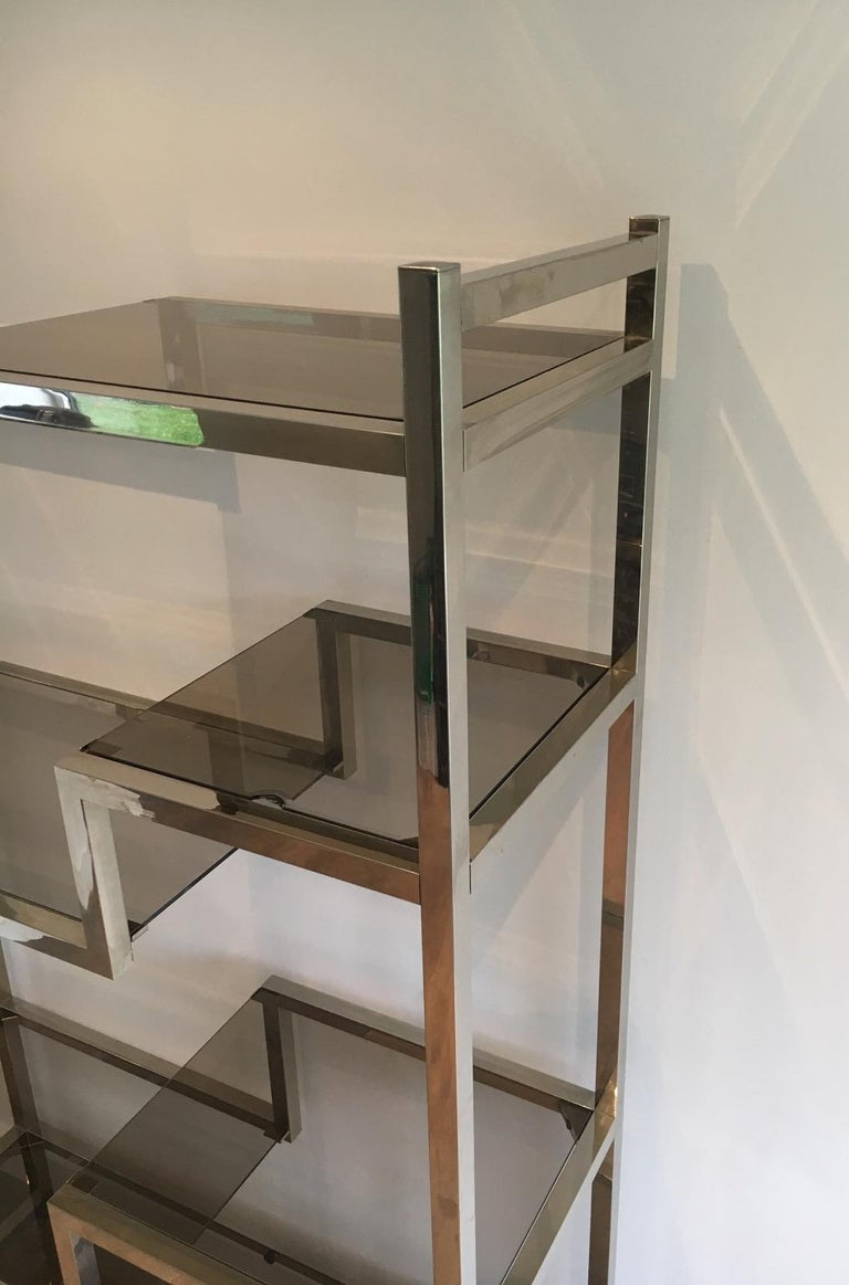 Mid-Century Modern Design Chrome Shelves Unit in the Style of Willy Rizzo, French, circa 1970 For Sale