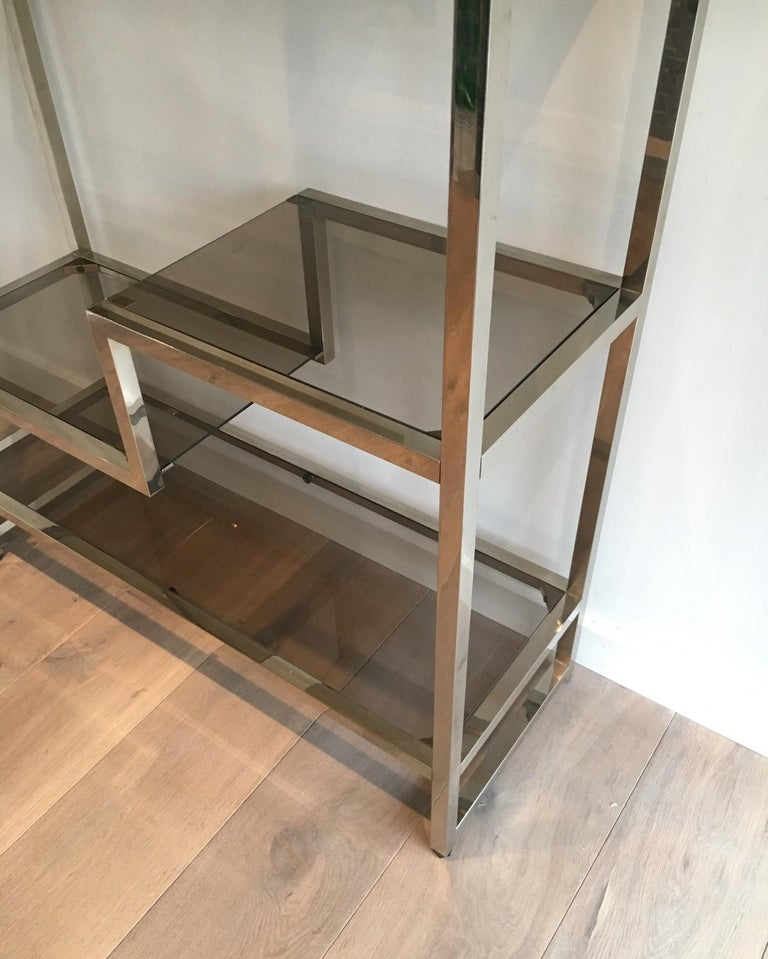 Bronzed Design Chrome Shelves Unit in the Style of Willy Rizzo, French, circa 1970 For Sale