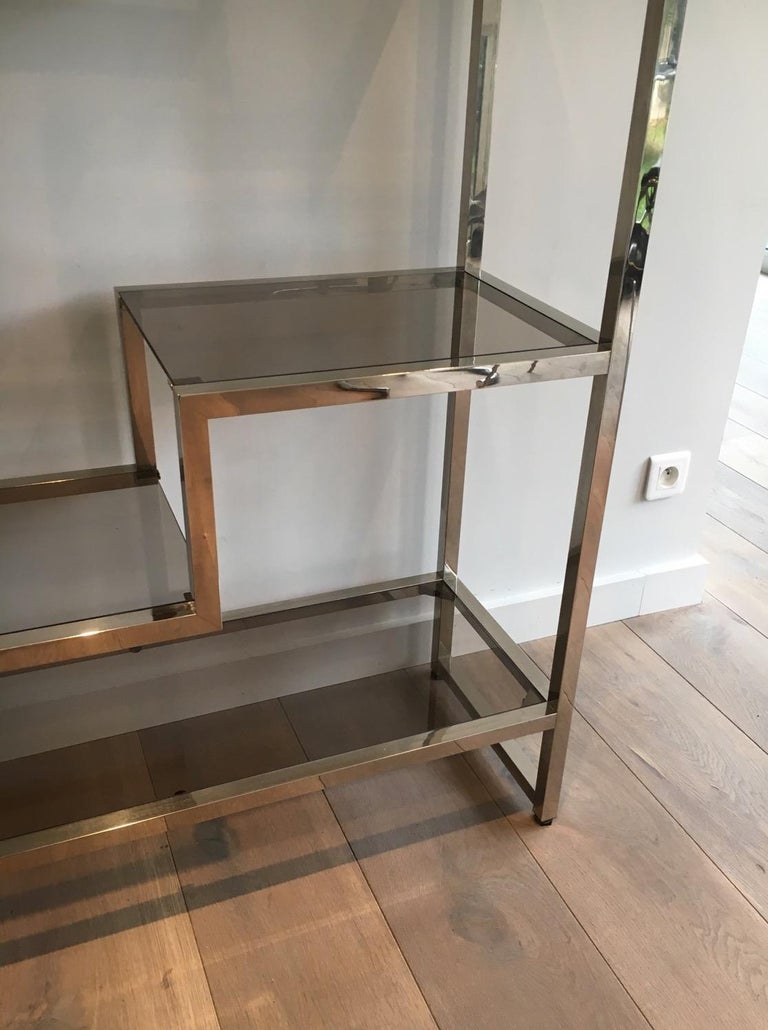 Late 20th Century Design Chrome Shelves Unit in the Style of Willy Rizzo, French, circa 1970 For Sale