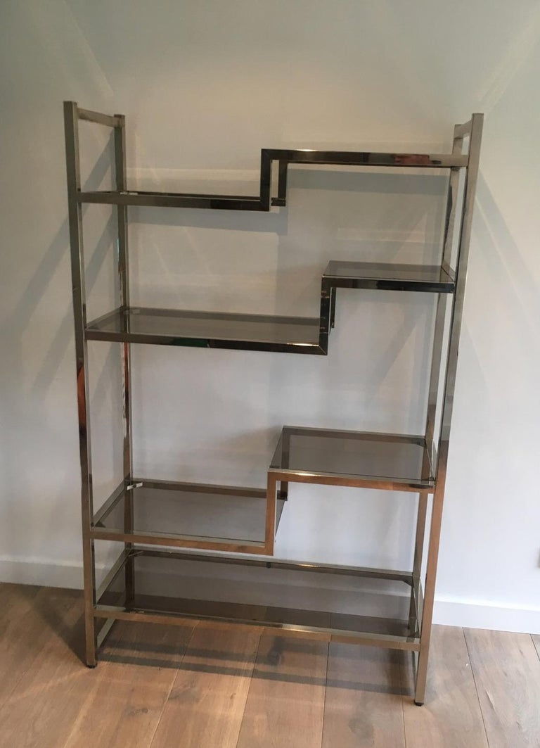 Design Chrome Shelves Unit in the Style of Willy Rizzo, French, circa 1970 For Sale 2
