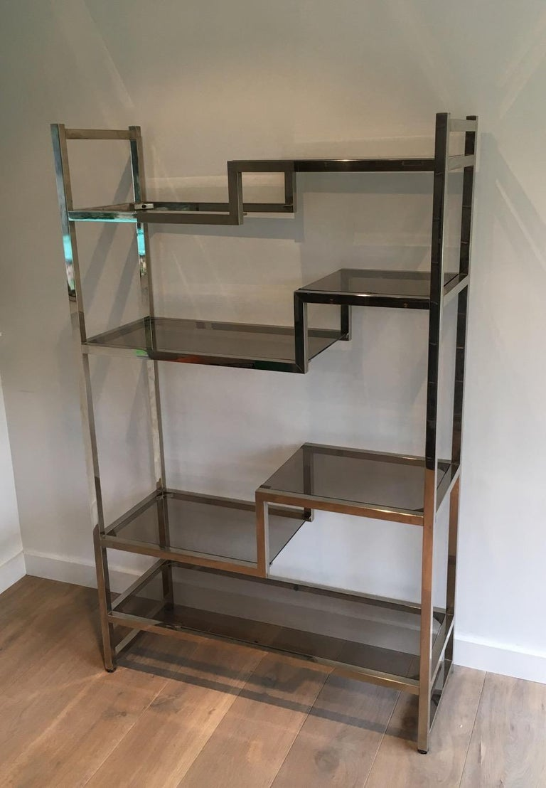 Design Chrome Shelves Unit in the Style of Willy Rizzo, French, circa 1970 For Sale 3