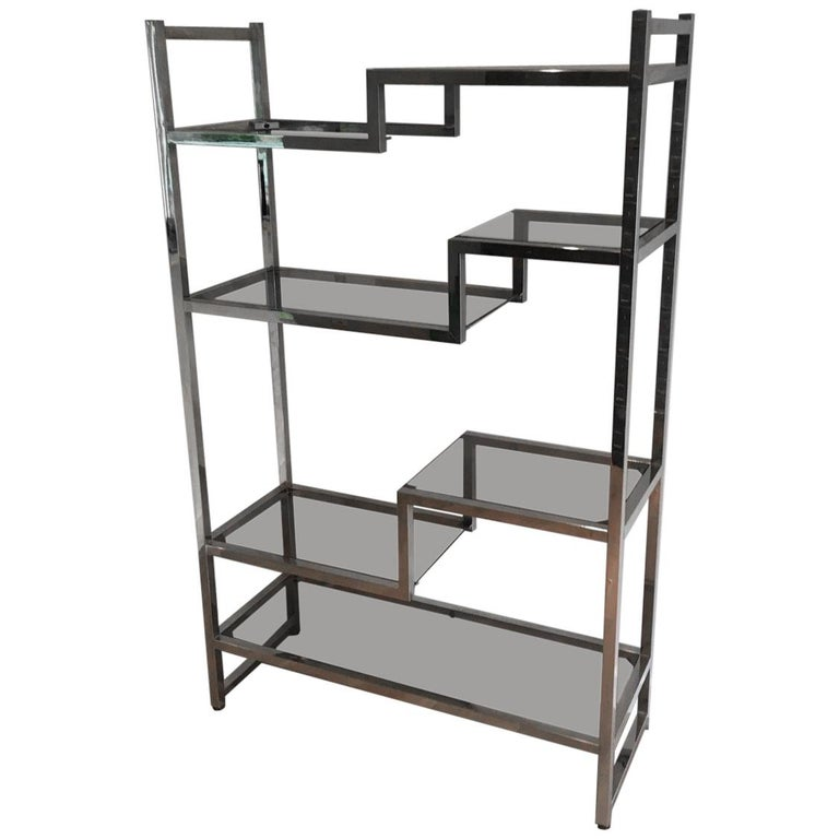 Design Chrome Shelves Unit in the Style of Willy Rizzo, French, circa 1970 For Sale