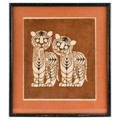 Inagaki Nenjiro, Original Color Woodblock Print of Two Tigers, 1960s