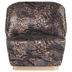 Inanda Armchair in Printed Silk and Leather by Roberto Cavalli Home Interiors