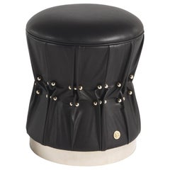 Inanda Pouf in Black Leather by Roberto Cavalli