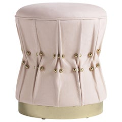 Inanda Pouf in Light Pink Leather by Roberto Cavalli Home Interiors