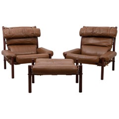 Inca Armchairs with Appurtenant Ottoman by Arne Norell
