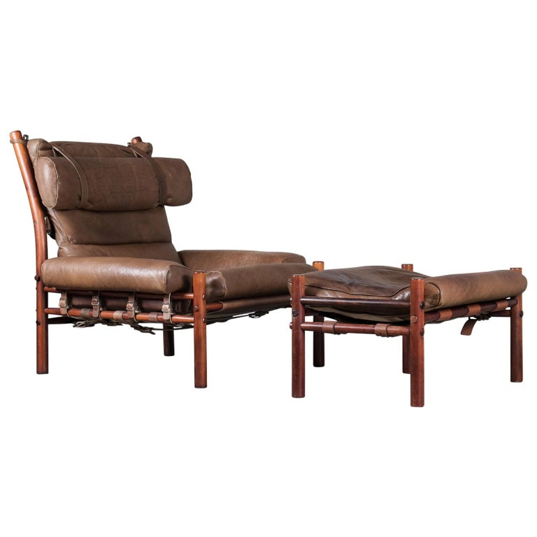 Inca Easy Chair With Ottoman By Arne, Arne Norell Inca Chair