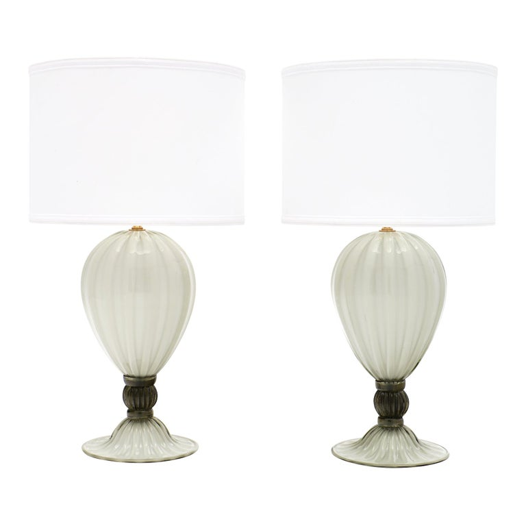 """Incamiciato"" Murano Glass Table Lamps For Sale"