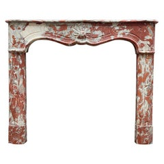 Incarnate Red Turquin Marble Louis XV Provincial Style Fireplace Mantel