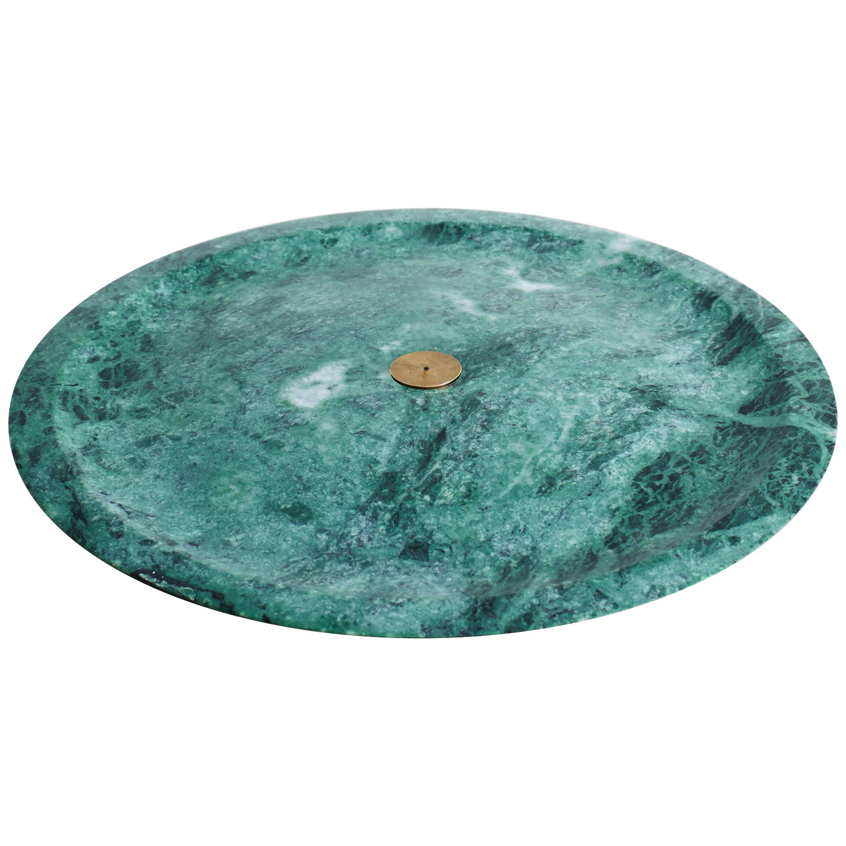 Incense Plate, Green Guatemala Sculpted Marble by Henry Wilson