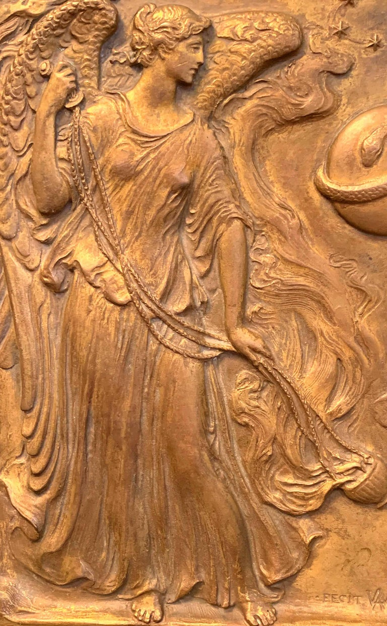 Extraordinary and unique, this gorgeous sculptural bronze panel depicting two statuesque angels swinging censors pouring out billows of incense was sculpted by Adolph Weinman for a New York installation in 1912. Born in Germany in 1870, Weinman
