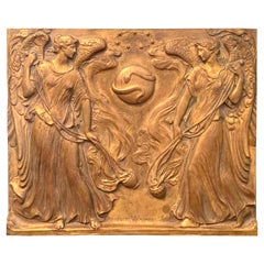"""Incense Rising to Heaven,"" Bronze Panel with Angels by Supreme Court Sculptor"