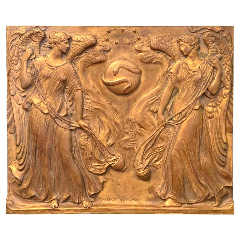 """""""Incense Rising to Heaven,"""" Bronze Panel with Angels by Supreme Court Sculptor For Sale"""