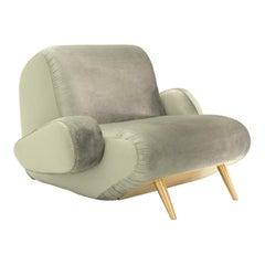 Inception Armchair, 21st Century Large Velvet and Brass Contemporary Armchair
