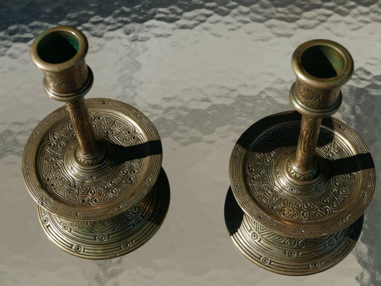 Turkish Incised Pair of 17th Century Ottoman Bronze Candlesticks For Sale