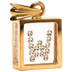 Incogem Floating Diamond Pendant 14 Karat Yellow Gold 'Letter W'