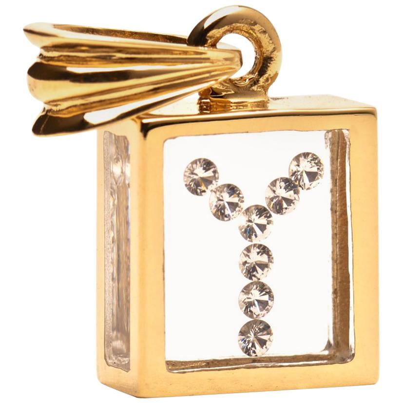 Incogem Floating Diamond Pendant 14 Karat Yellow Gold 'Letter Y'