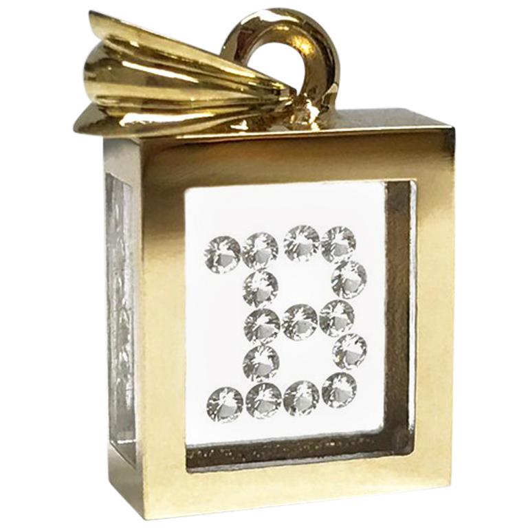Incogem Floating Diamond Pendant: 14k Yellow Gold (Letter B)
