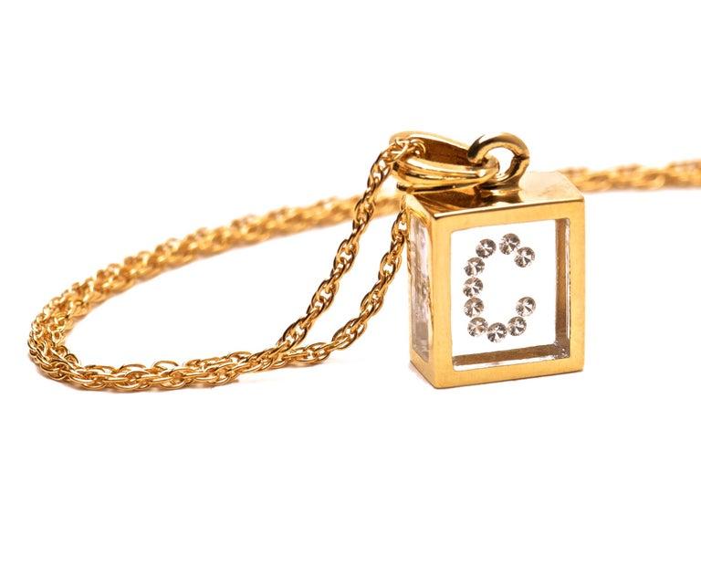 Modern Floating Diamond Pendant 14 Karat Yellow Gold 'Letter C' For Sale