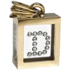 Incogem Floating Diamond Pendant: 14k Yellow Gold (Letter D)