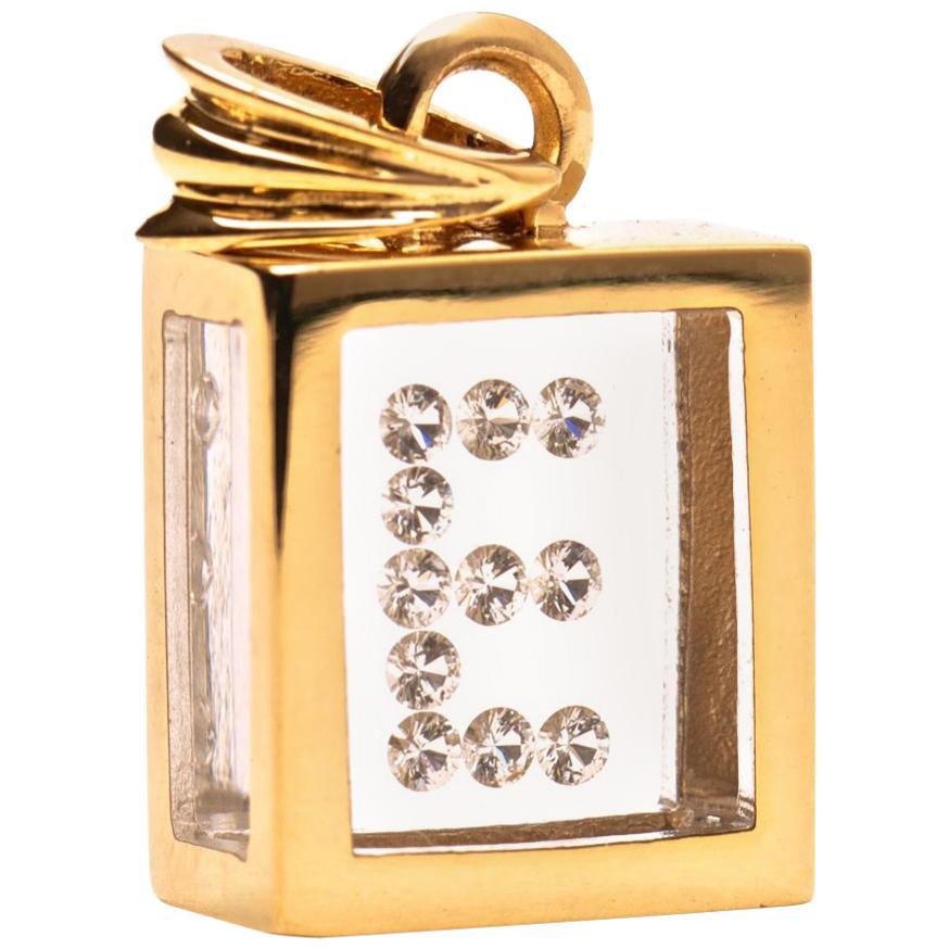 Incogem Floating Diamond Pendant: 14k Yellow Gold (Letter E)