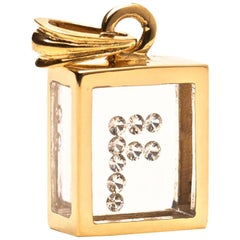 Incogem Floating Diamond Pendant: 14k Yellow Gold (Letter F)