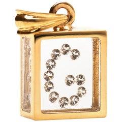 Incogem Floating Diamond Pendant: 14k Yellow Gold (Letter G)