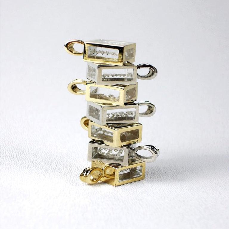 Round Cut Incogem Floating Diamond Pendant: 14k Yellow Gold (Letter I) For Sale