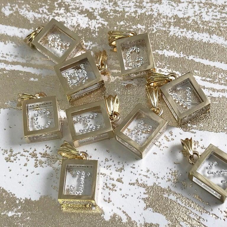 Modern Incogem Floating Diamond Pendant: 14k Yellow Gold (Letter K) For Sale