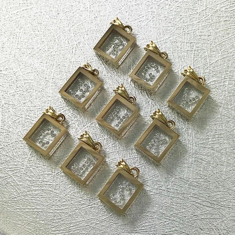 Round Cut Incogem Floating Diamond Pendant: 14k Yellow Gold (Letter K) For Sale