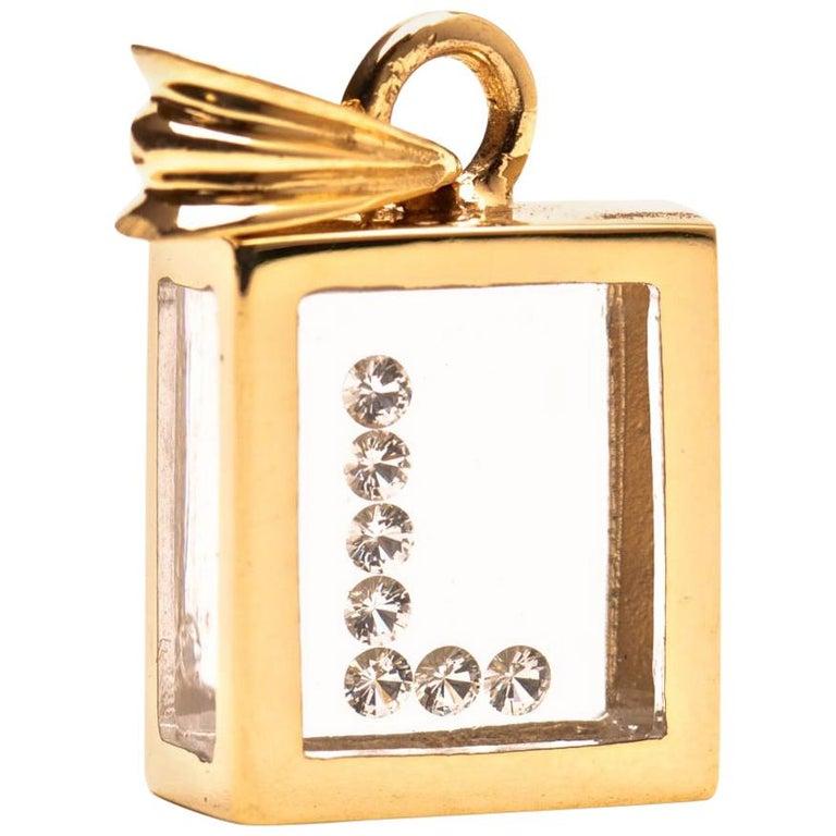 Incogem Floating Diamond Pendant: 14k Yellow Gold (Letter L) For Sale