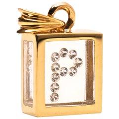 Incogem Floating Diamond Pendant: 14k Yellow Gold (Letter P)