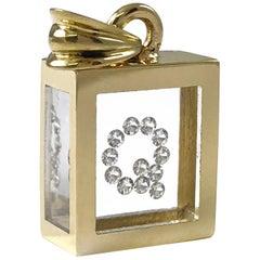 Incogem Floating Diamond Pendant: 14k Yellow Gold (Letter Q)