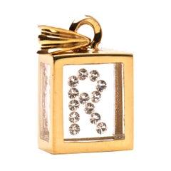 Incogem Floating Diamond Pendant: 14k Yellow Gold (Letter R)