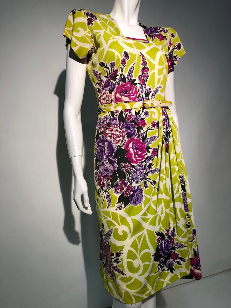 Incredible 1940s Nylon Jersey Swing Dress In A Spectacular Chartreuse and Floral For Sale 5