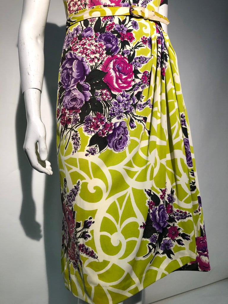 Incredible 1940s Nylon Jersey Swing Dress In A Spectacular Chartreuse and Floral For Sale 6