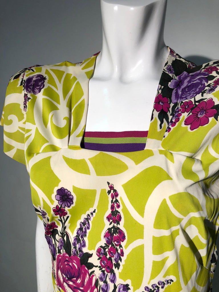 Incredible 1940s Nylon Jersey Swing Dress In A Spectacular Chartreuse and Floral For Sale 7