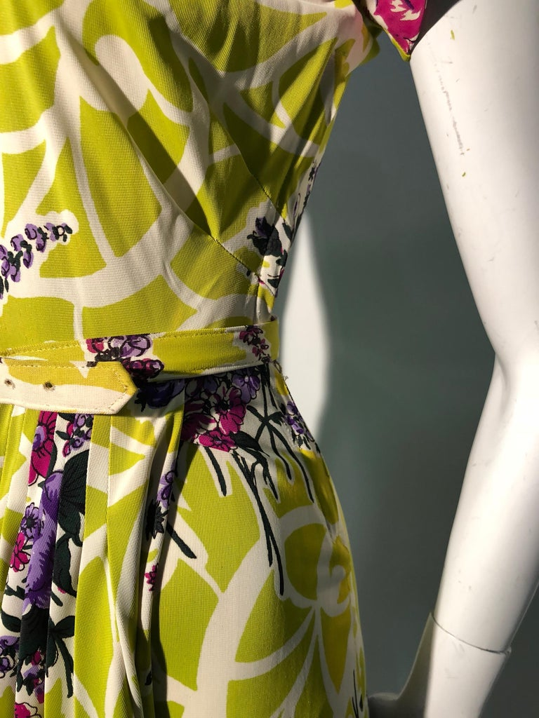 Incredible 1940s Nylon Jersey Swing Dress In A Spectacular Chartreuse and Floral For Sale 8
