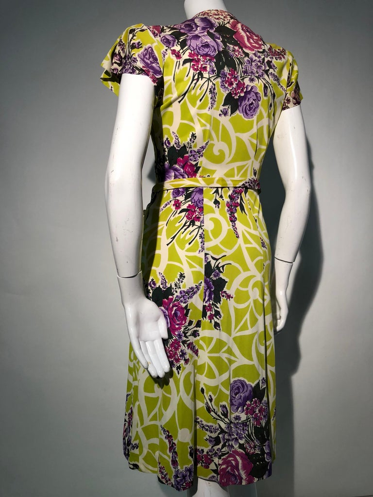 Beige Incredible 1940s Nylon Jersey Swing Dress In A Spectacular Chartreuse and Floral For Sale