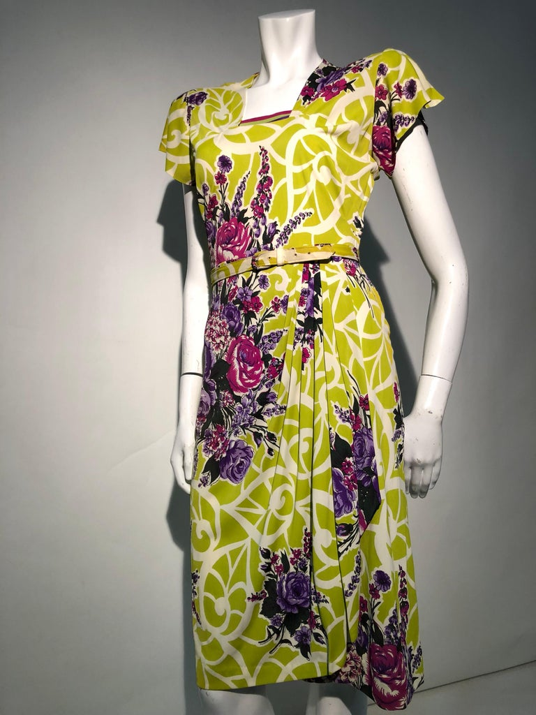 Incredible 1940s Nylon Jersey Swing Dress In A Spectacular Chartreuse and Floral For Sale 2