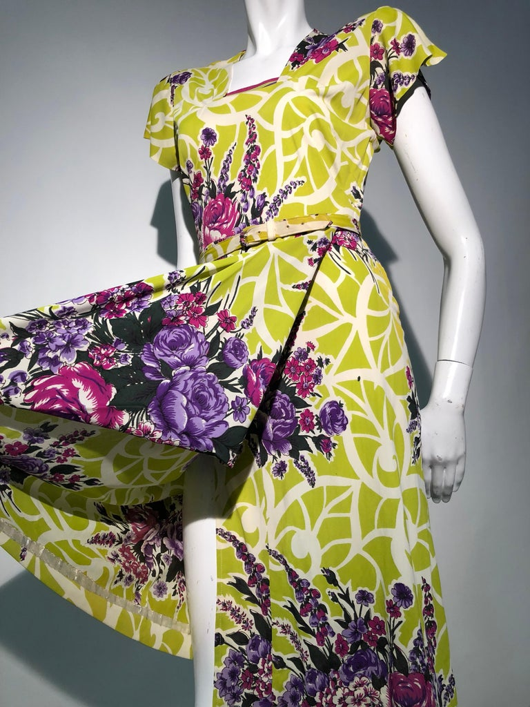 Incredible 1940s Nylon Jersey Swing Dress In A Spectacular Chartreuse and Floral For Sale 3