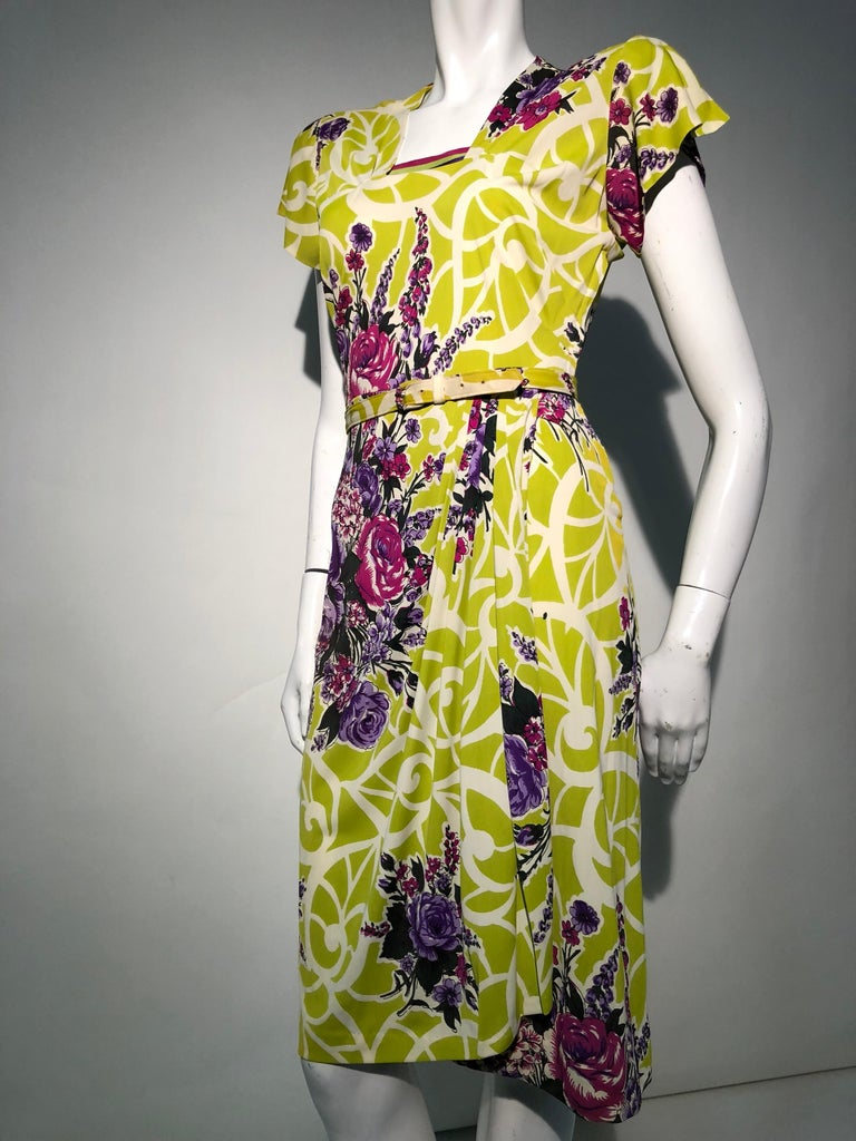 Incredible 1940s Nylon Jersey Swing Dress In A Spectacular Chartreuse and Floral For Sale 4