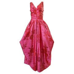 Incredible 1940s Unlabeled Pink Floral Silk Weighted Skirts Halter Dress