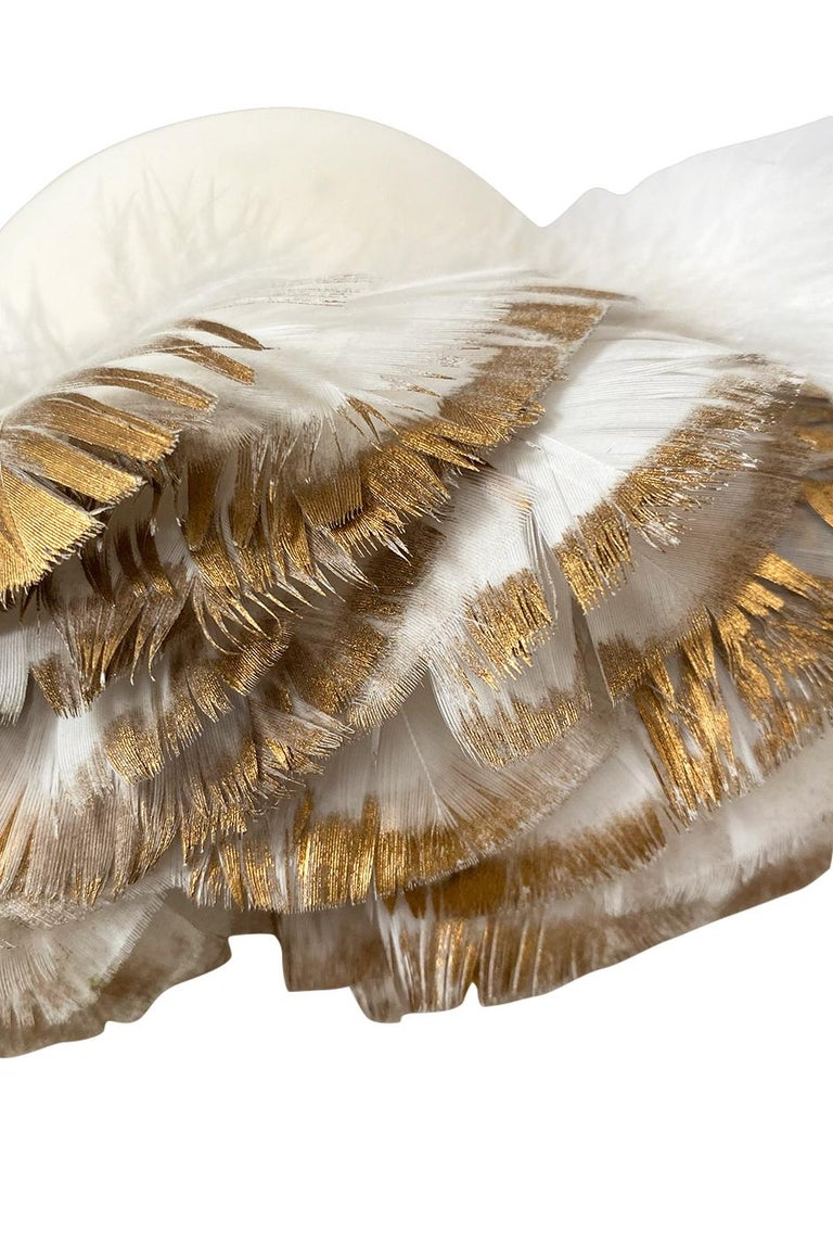 Incredible 1960s Christian Dior Gold Tipped Feather Brim Ivory Hat For Sale 2
